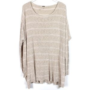 Free People Medium Striped Tan Tunic Sweater